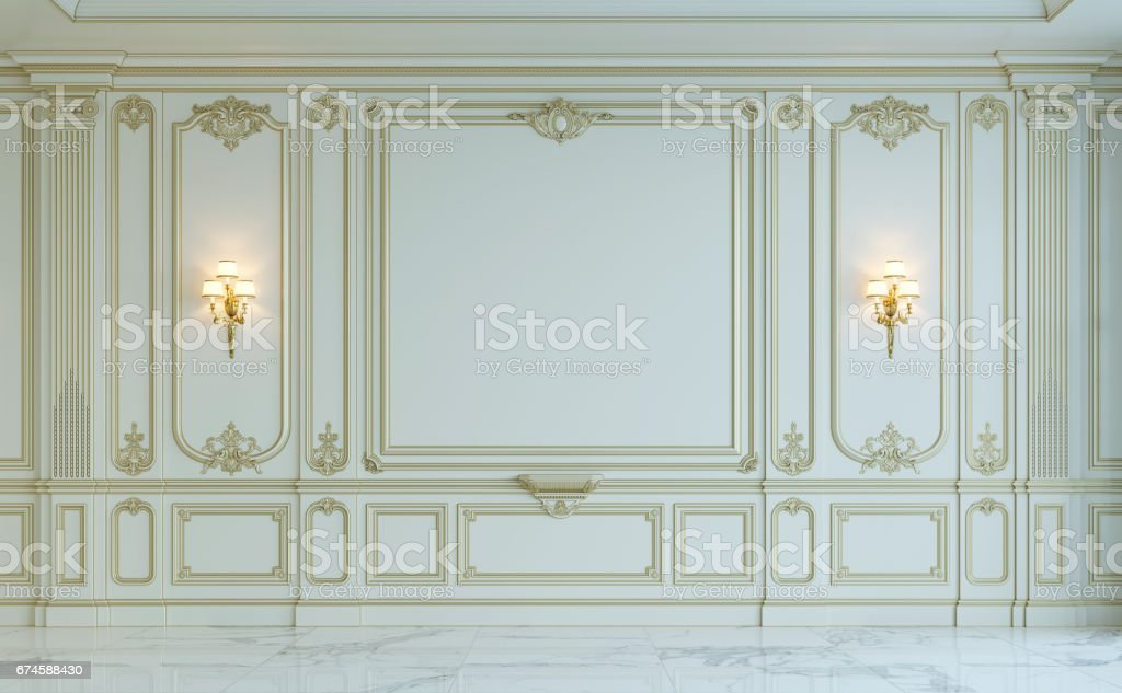 Paneles de pared blanca en estilo clásico con dorado. Render 3D - foto de stock