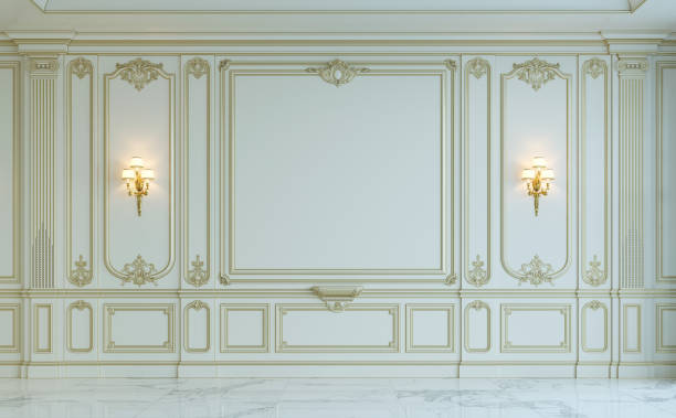 white wall panels in classical style with gilding. 3d rendering - baroque stock photos and pictures