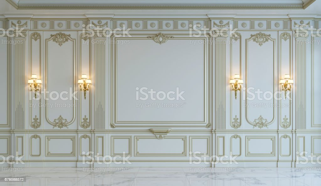White wall panels in classical style with gilding. 3d rendering - foto stock