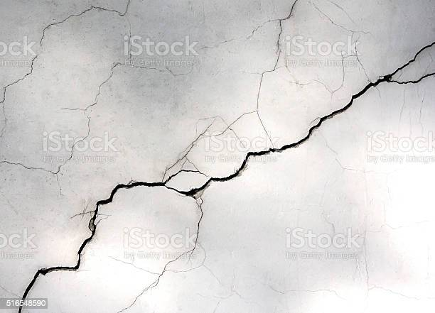 Photo of white wall with cracks