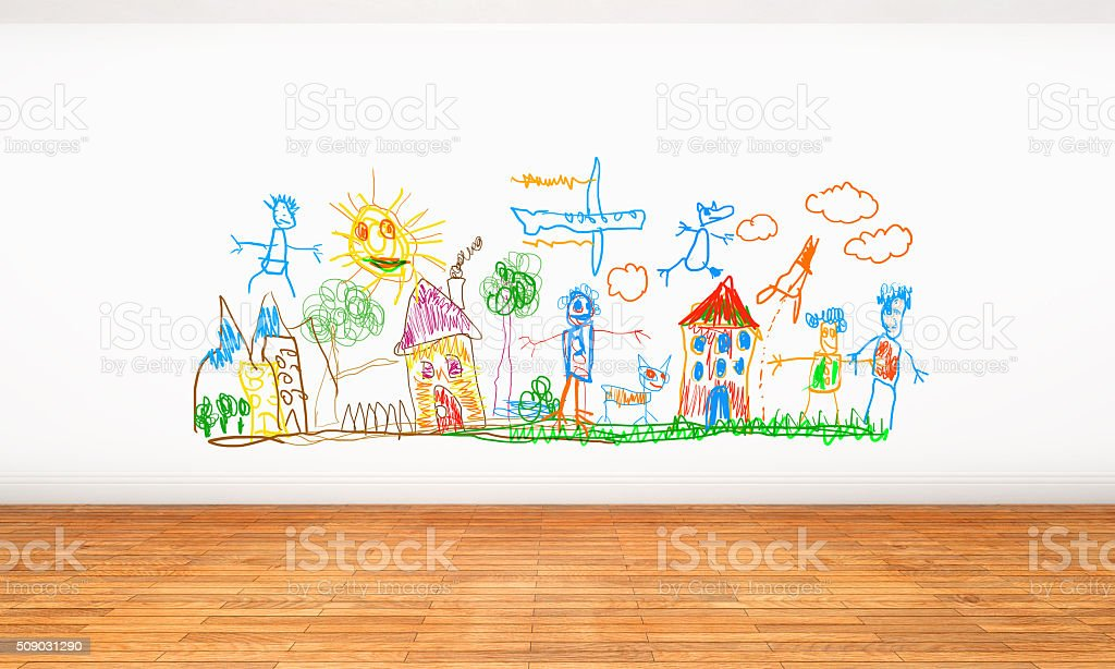 White wall with crayon drawings and doodles painted by kids stock photo