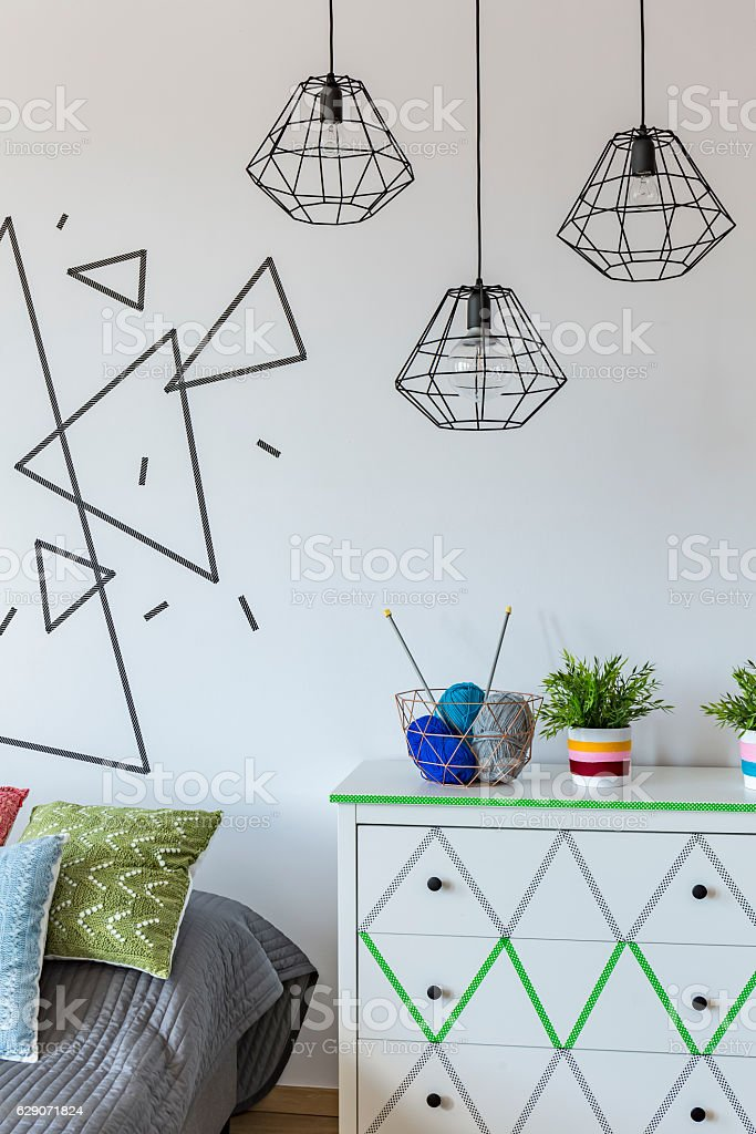 White wall with triangle theme stock photo