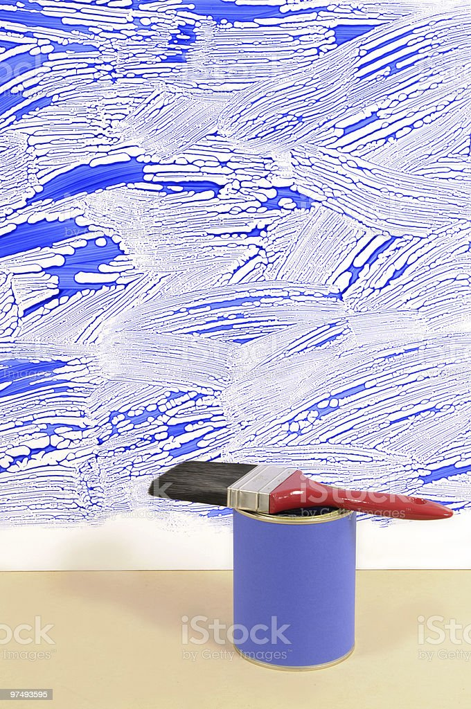 White wall with untidy blue paint royalty-free stock photo