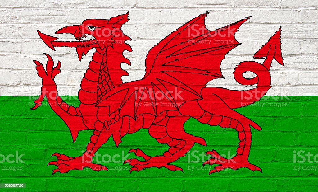 White wall  with Welsh Flag stock photo