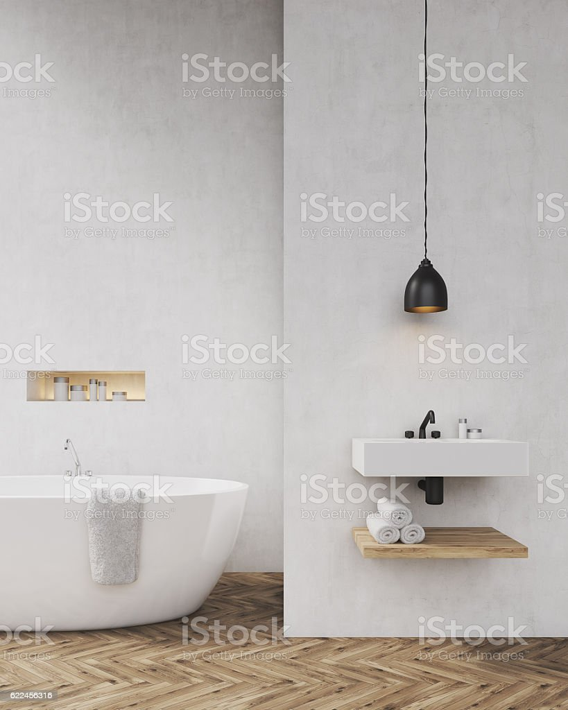 White walls bathroom with shadow – Foto