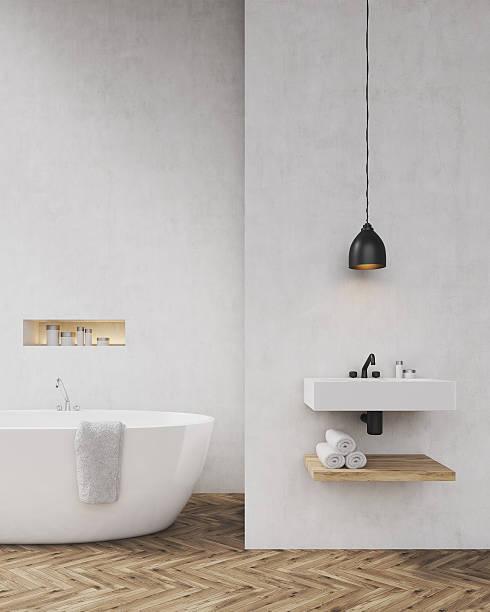 White walls bathroom with shadow - foto de stock