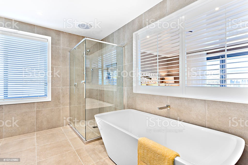 White Wash Basin And Glass Panel Shower Area With Tiles Stock Photo ...