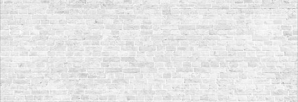 White wash brick wall panorama. White wash brick wall panoramic background. Home and office modern design backdrop whitewashed stock pictures, royalty-free photos & images