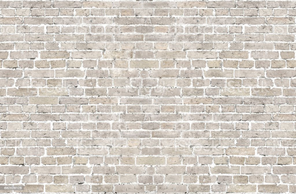 White wash old brick wall horizontal background stock photo