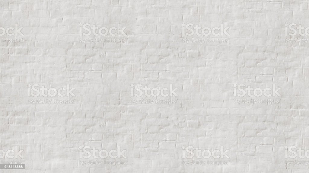 White wash  painted old brick wall with plaster texture. stock photo