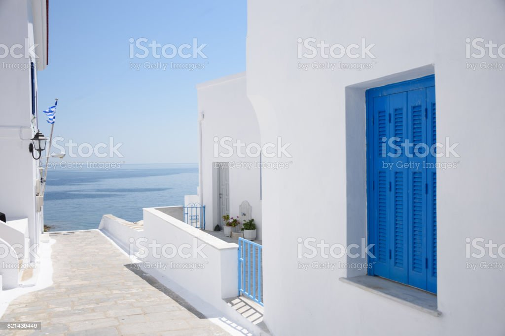 White washed houses on Andros Island Greece stock photo