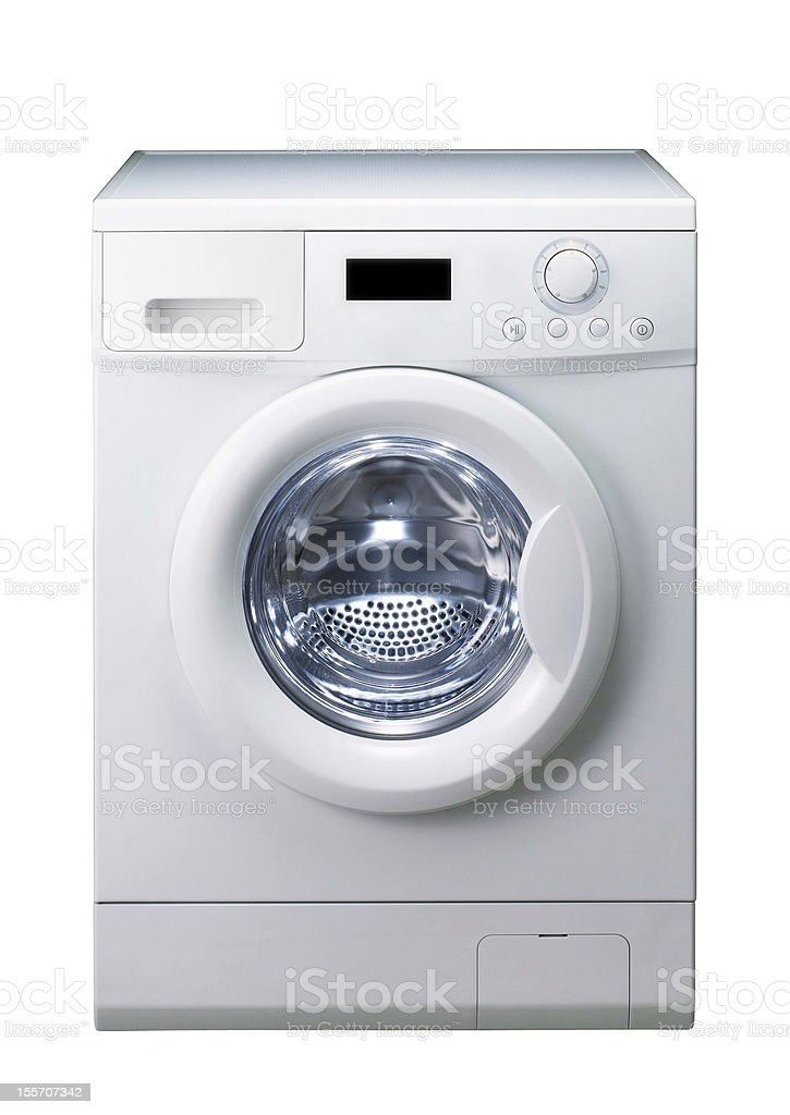 White washing machine against white background stock photo