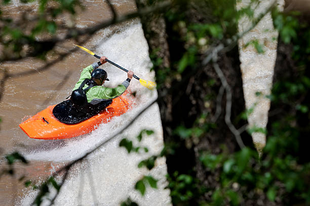 white water kayaking A white water kayaker sufs a wave backwards and is framed through a tree. animas river stock pictures, royalty-free photos & images