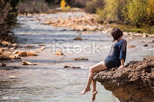 522909925 istock photo White water Mineral Creek in Colorado with woman 586725400