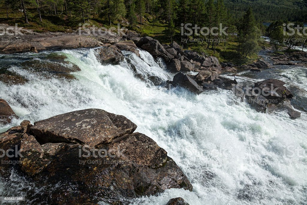 White water on a river in Norway stock photo