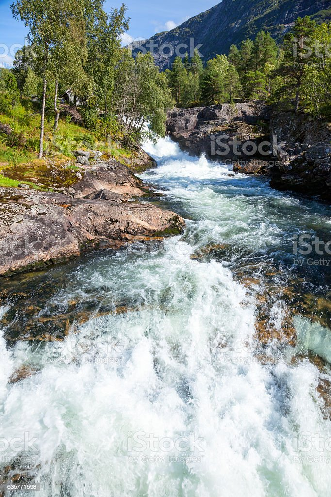 White water on river in Norway stock photo