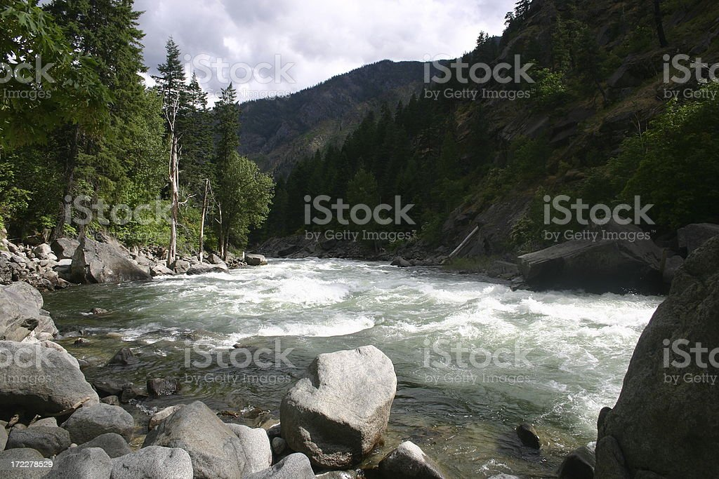 White Water on the Wenatchee River stock photo
