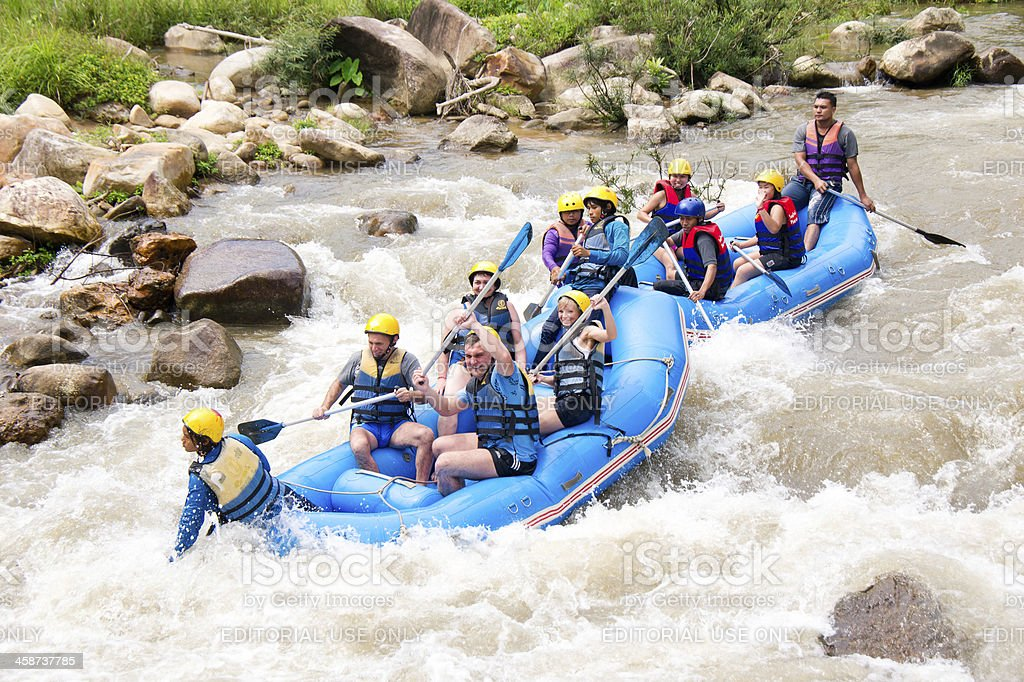 White water rafting in Phang nga, Thailand stock photo