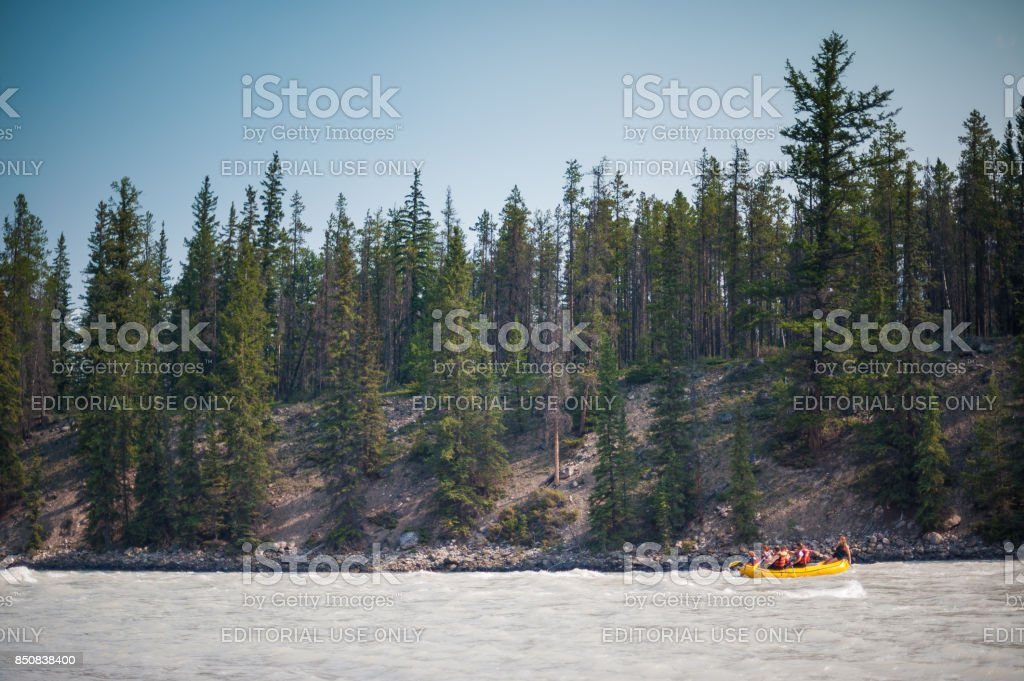 White water rafting on the Athabasca river stock photo