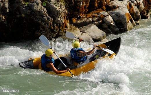 Water rafting on the rapid river. France. Europe.