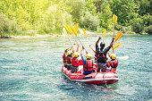 Group of people rafting on Koprulu Canyon near Antalya, Turkey