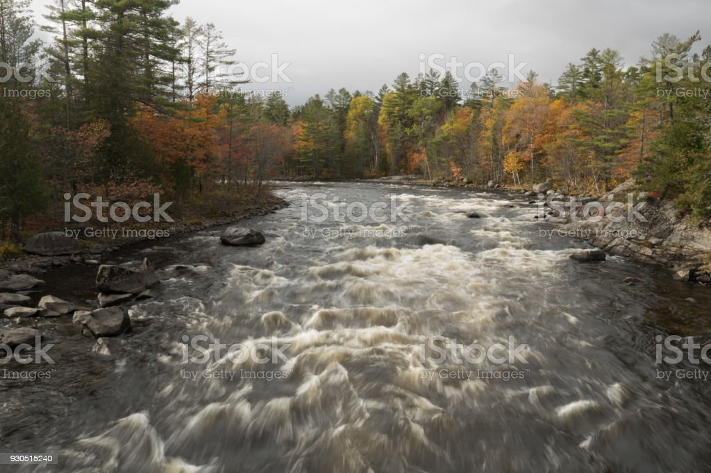 White Water Rushes Through the Penobscot River stock photo