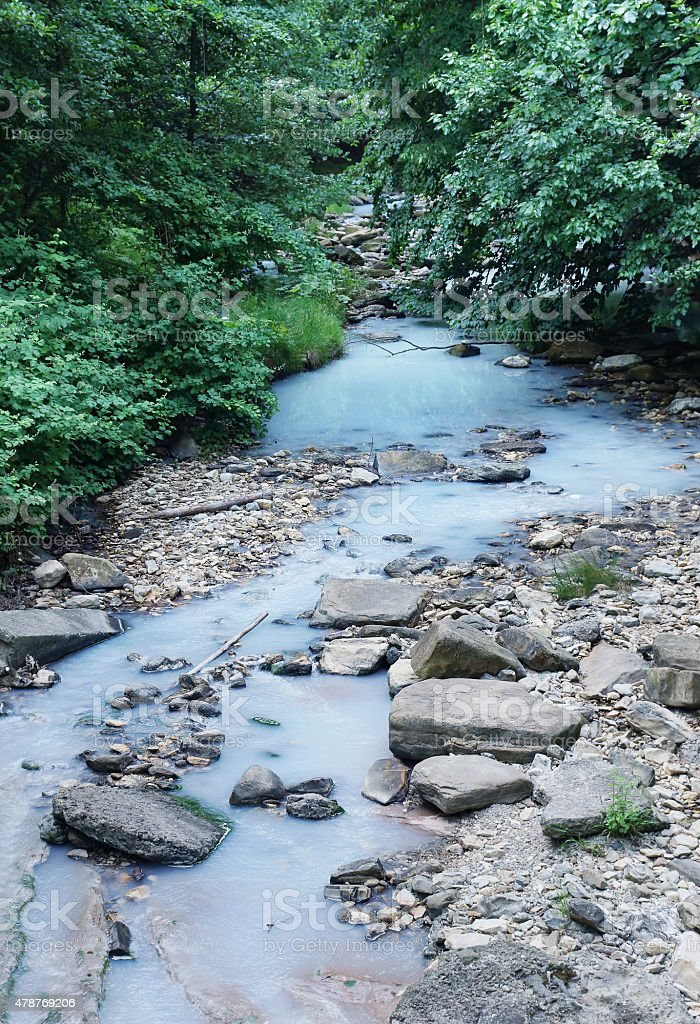 White water with hydrogen sulphide in Agura River stock photo