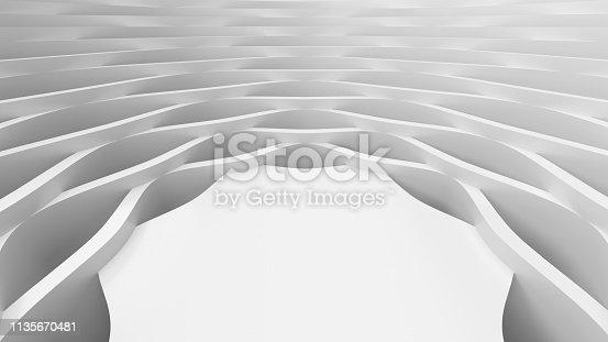 921696186 istock photo White wavy background-3d rendering 1135670481