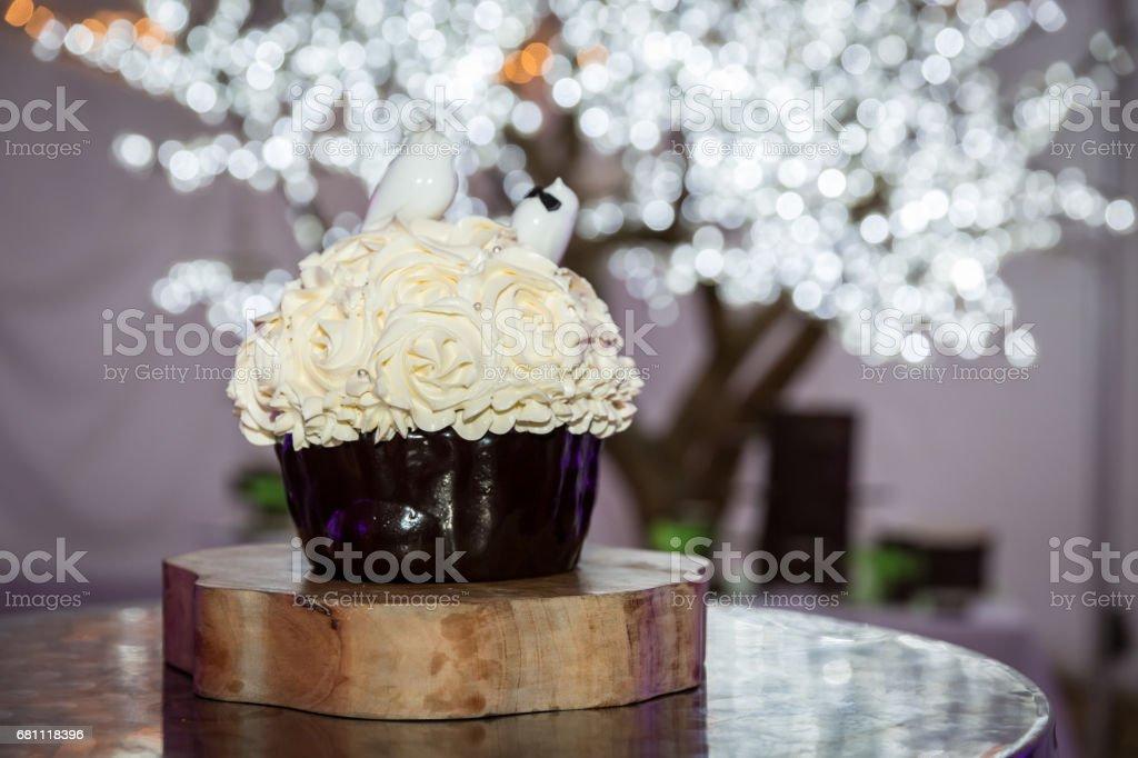 White Wedding Birthday Cake Decorated With Diamonds And Birds Stock