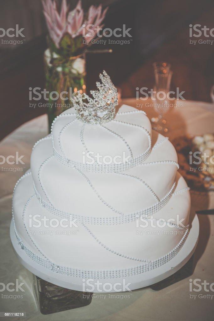 White Wedding Birthday Cake Decorated With Diamonds Stock Photo