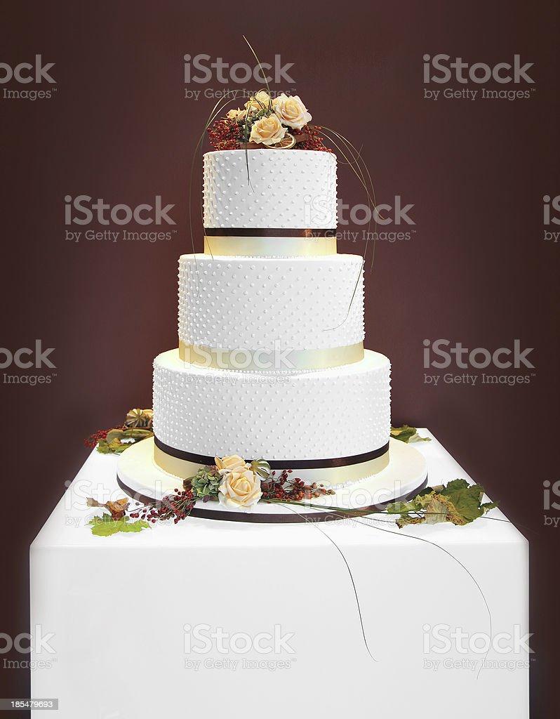 White wedding cake stock photo