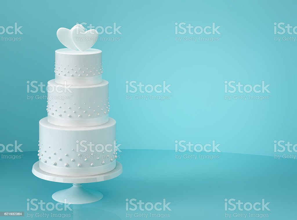 White wedding cake with two hearts - foto de acervo