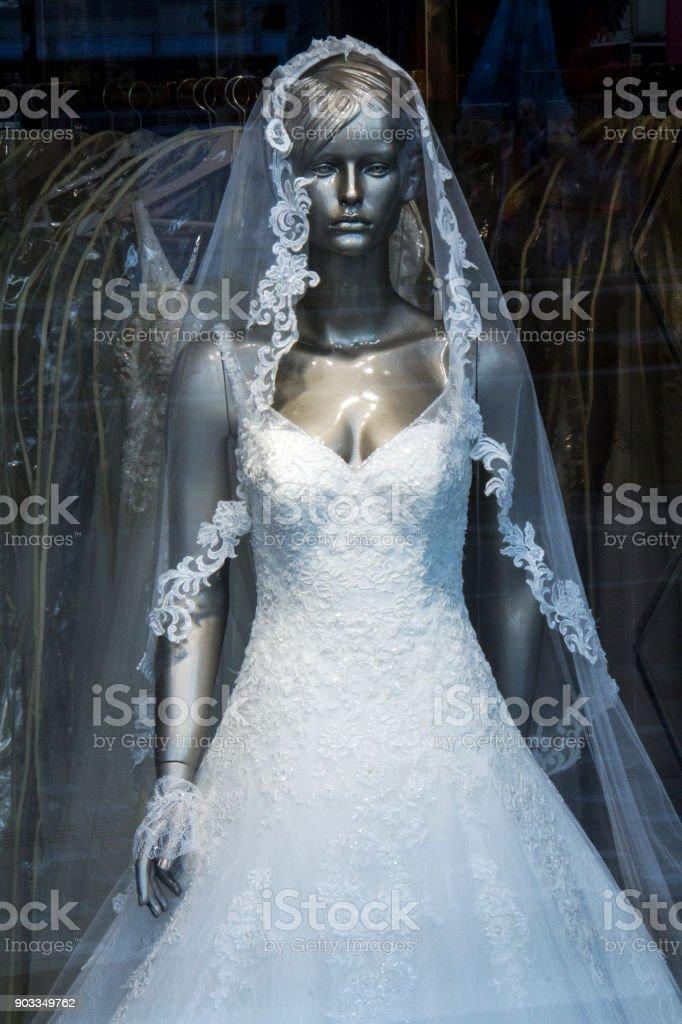 White Wedding Dress stock photo