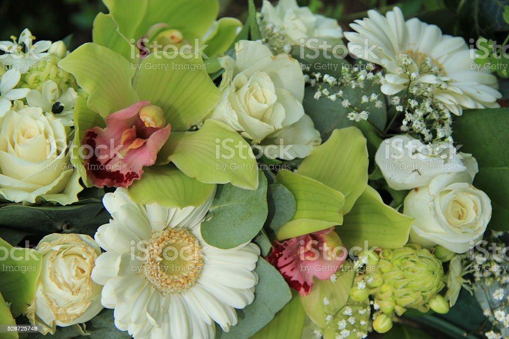 White wedding flowers stock photo