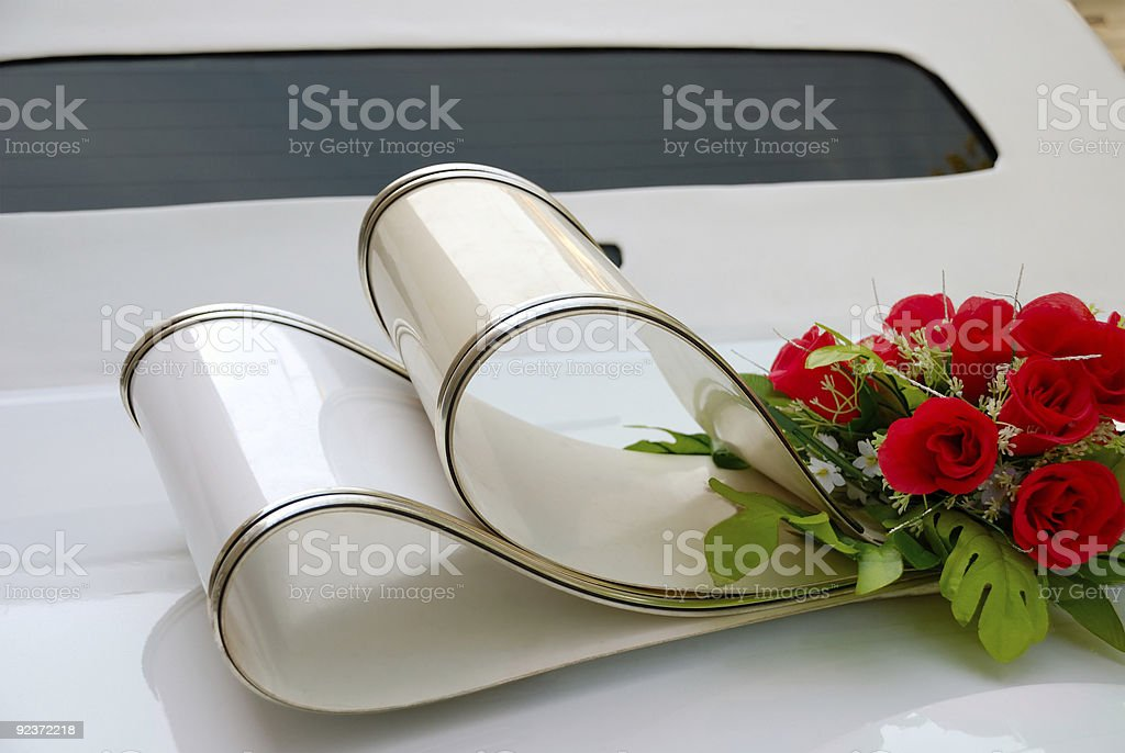 White wedding limousine royalty-free stock photo