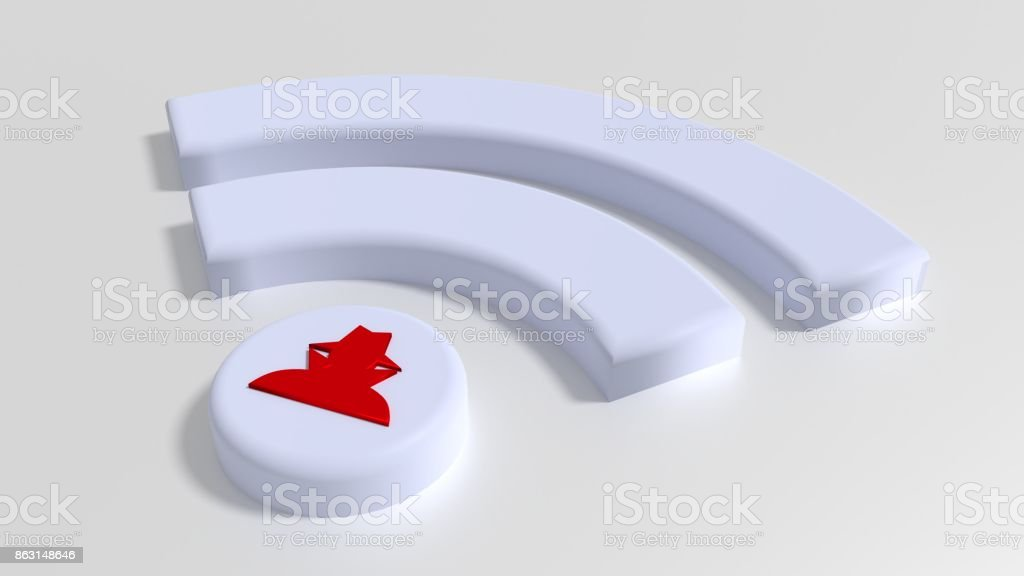 White Wifi symbol with a red hacker on the dot on white background cybersecurity compromised WPA 2 encryption stock photo