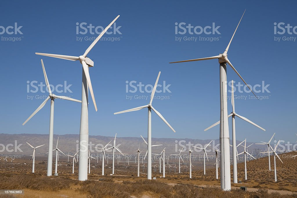 White wind turbines near Palm Springs, California royalty-free stock photo