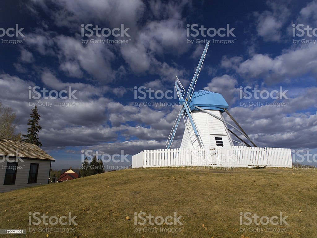 White Windmill in Wild West Environment royalty-free stock photo