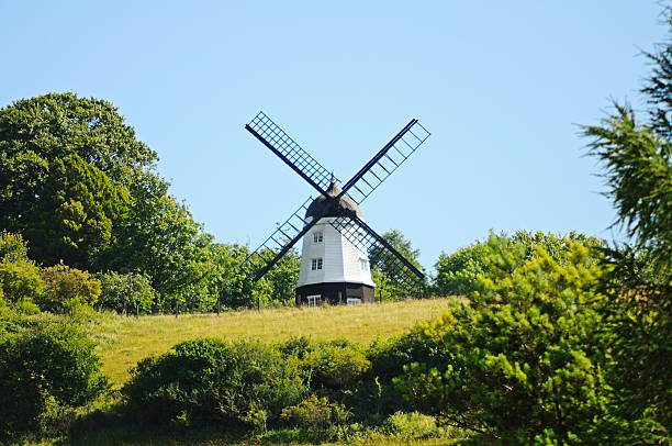 White windmill, Turville. Cobstone Mill at Ibstone seen from Turville village, Turville, Buckinghamshire, England, UK, Western Europe. buckinghamshire stock pictures, royalty-free photos & images