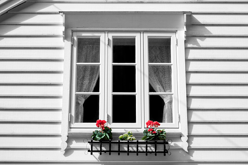White Window And Window Box Stock Photo - Download Image Now