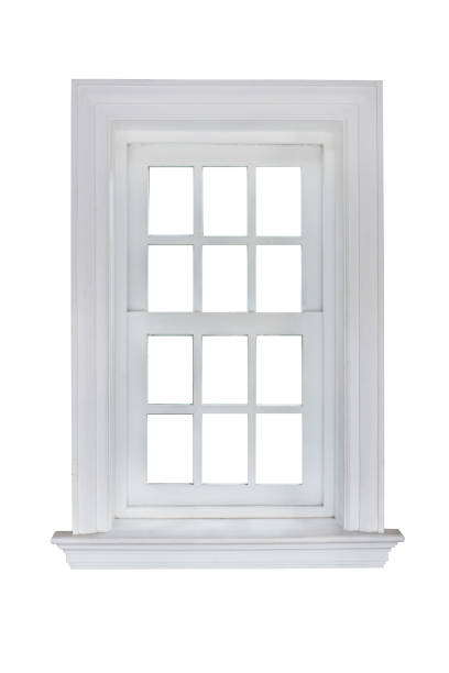 white window frame isolated on white background with clipping path. - foto stock