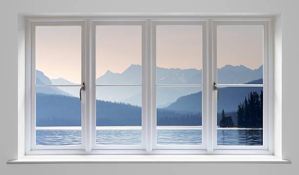 white window with lake view - geglazuurd stockfoto's en -beelden