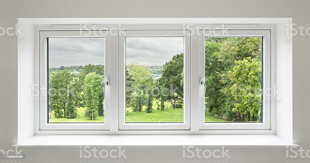 white windows with garden view stock photo