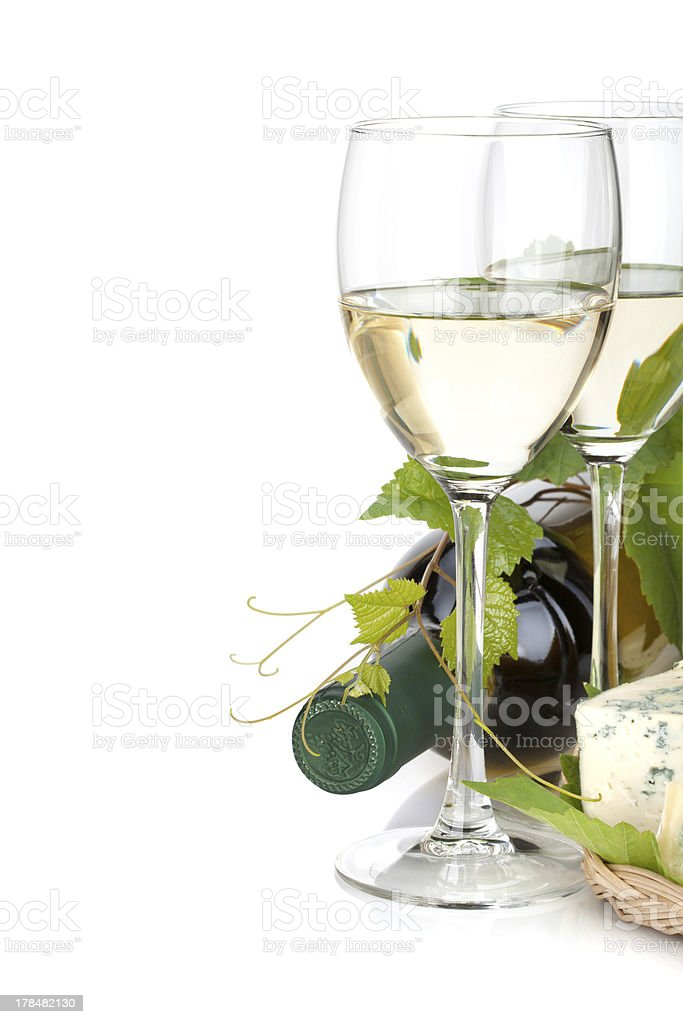 White wine and cheese royalty-free stock photo