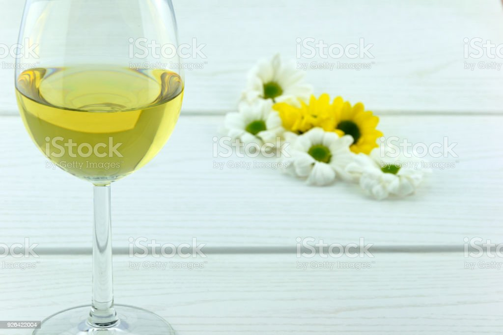 White Wine and Flowers stock photo