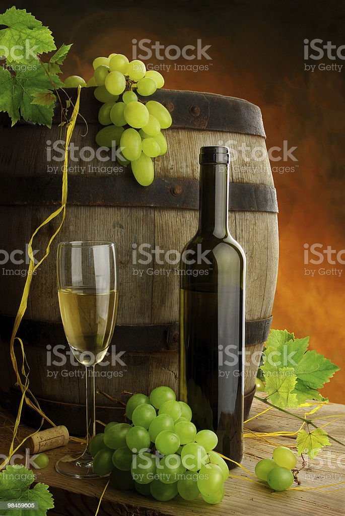 White wine and old barrel royalty-free stock photo