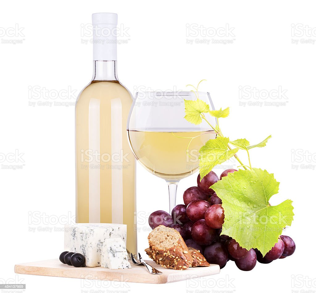 white wine assortment cheese and grapes royalty-free stock photo