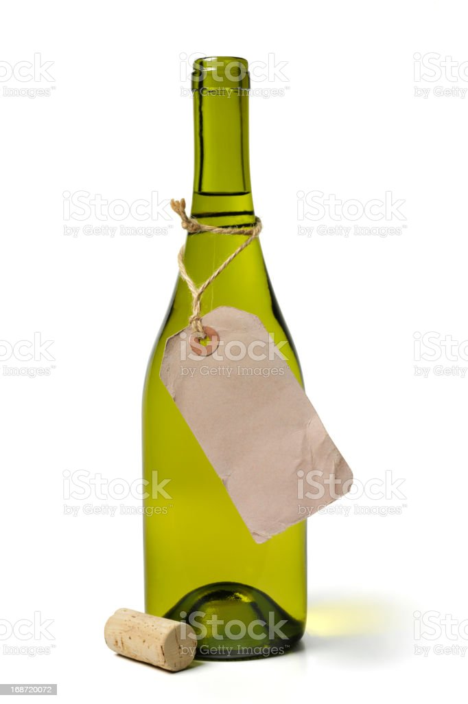 White Wine Bottle and Label stock photo