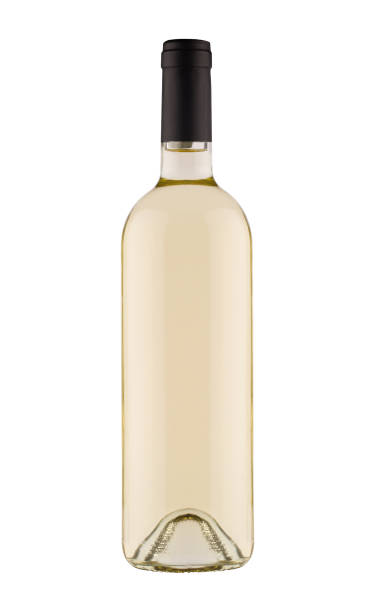 white wine bottle with black cap on white background stock photo