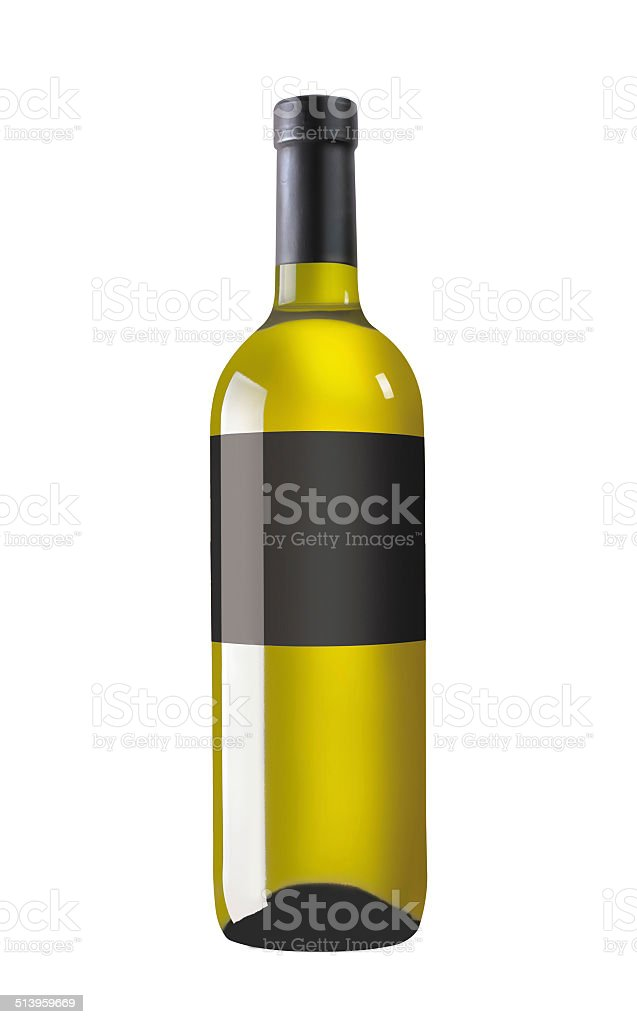 White wine bottle with black label stock photo